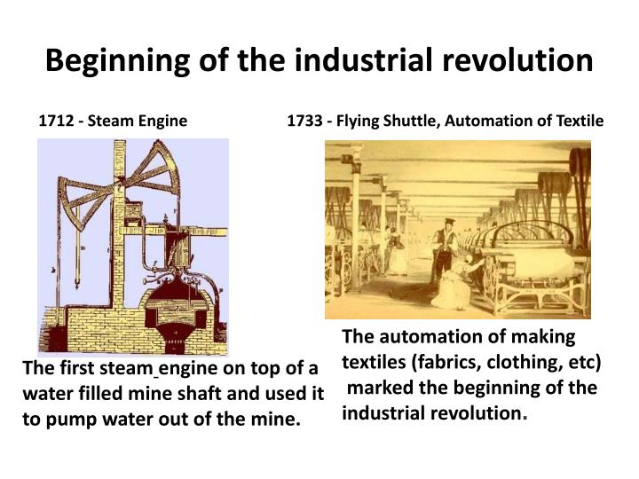 the beginnings of industrialization Industrialization, urbanization, and immigration business and industrialization centered on the cities  and brought about a severe economic depression beginning.
