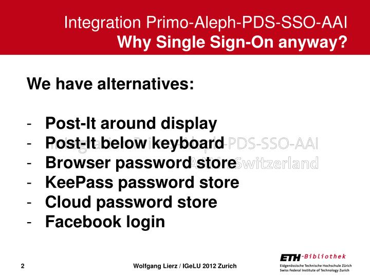 Integration primo aleph pds sso aai why single sign on anyway