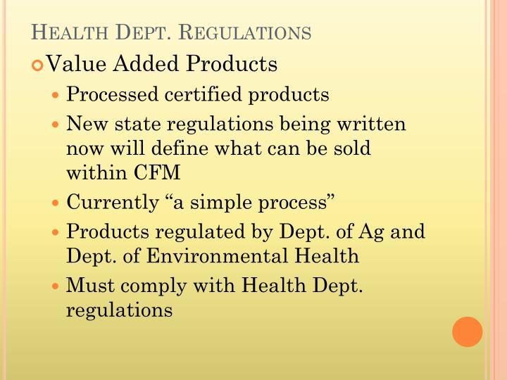 Health Dept. Regulations