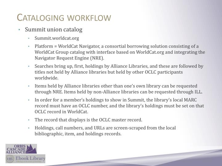 Cataloging workflow