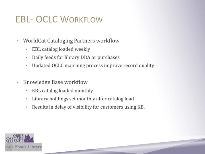 EBL- OCLC Workflow