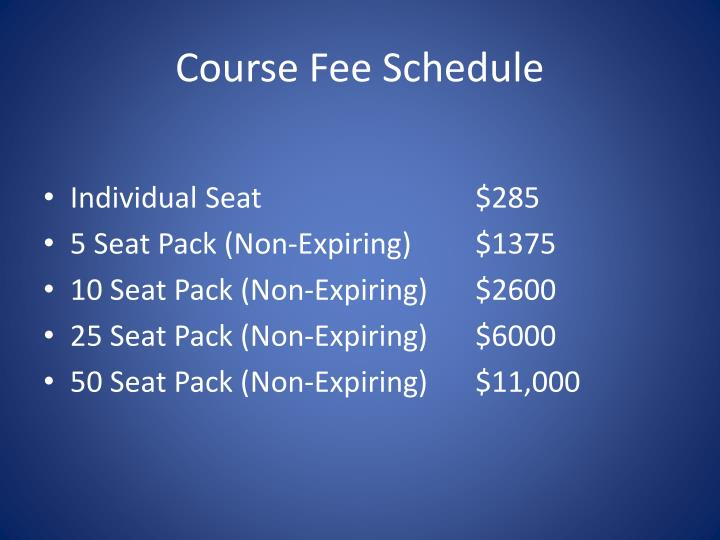 Course Fee Schedule