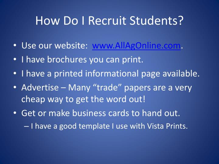 How Do I Recruit Students?