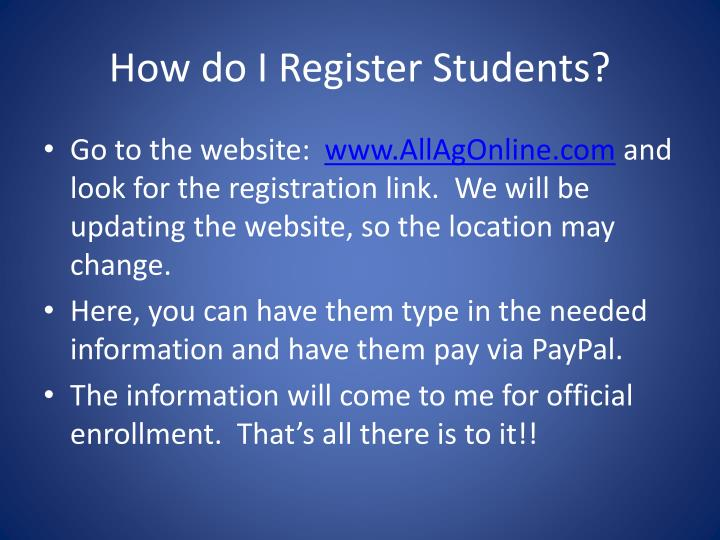How do I Register Students?