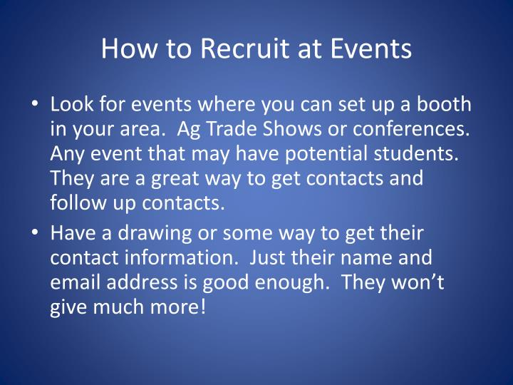 How to Recruit at Events