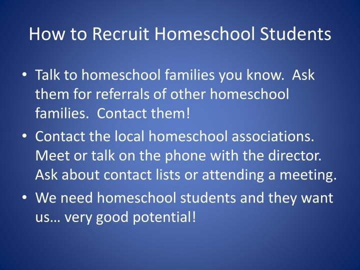How to Recruit Homeschool Students