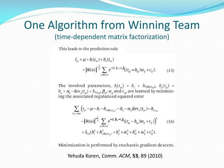 One Algorithm from Winning Team