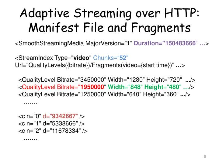 Adaptive Streaming over HTTP:
