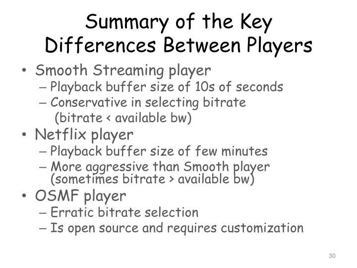 Summary of the Key