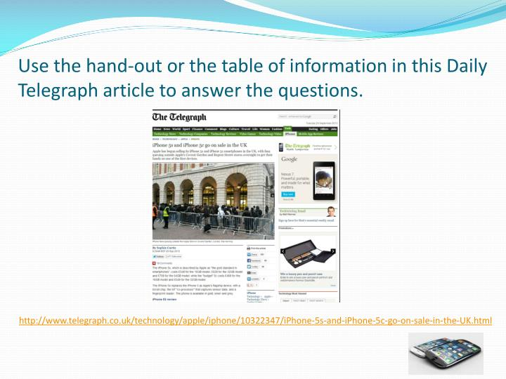 Use the hand-out or the table of information in this Daily