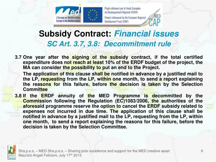 Subsidy Contract: