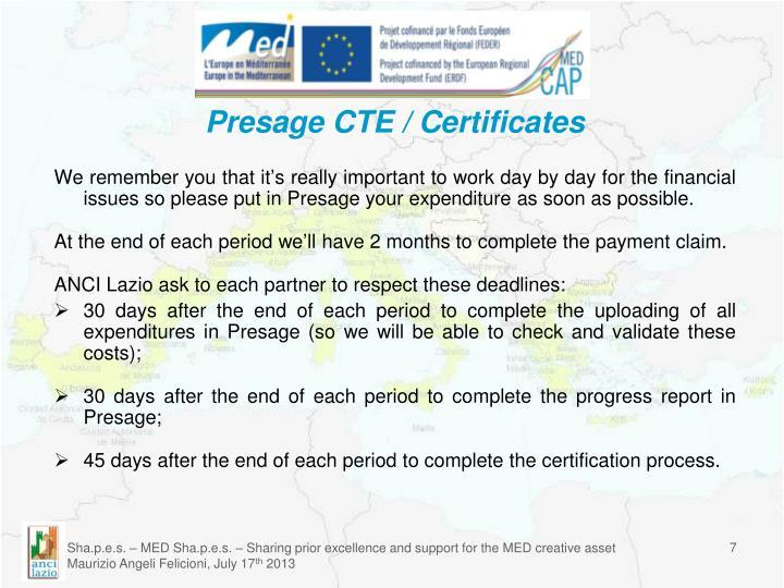 Presage CTE / Certificates
