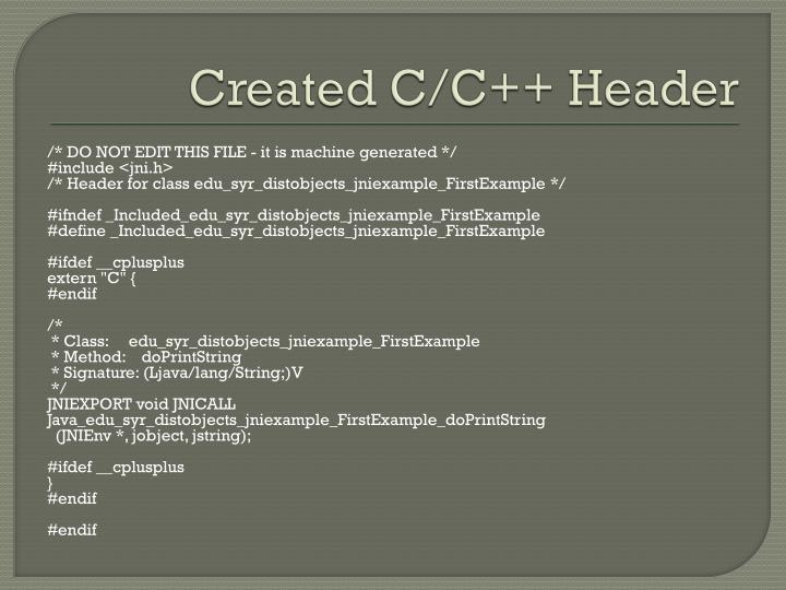 Created C/C++ Header