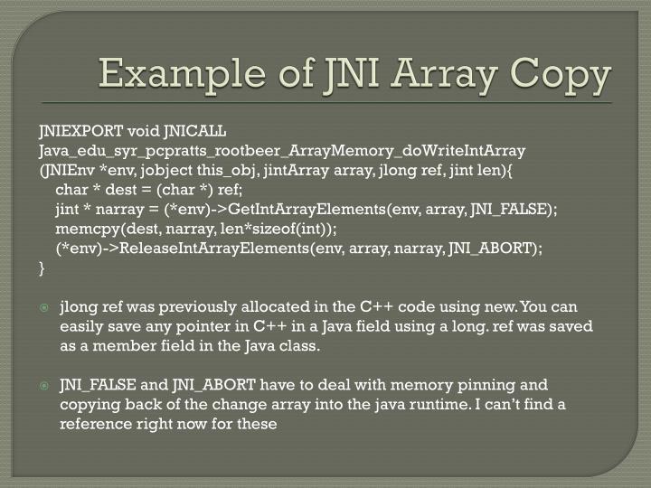 Example of JNI Array Copy
