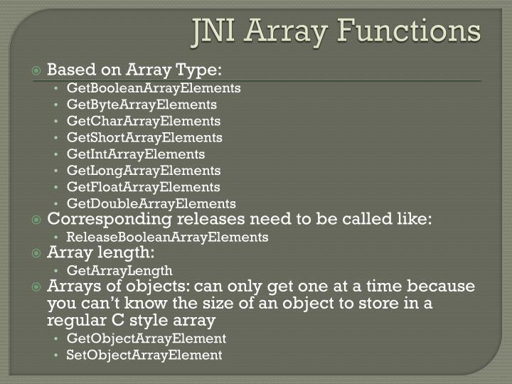JNI Array Functions