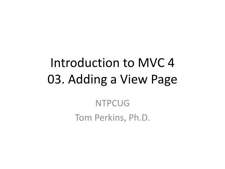 Introduction to MVC 4