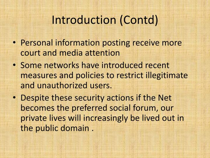 Introduction (Contd)