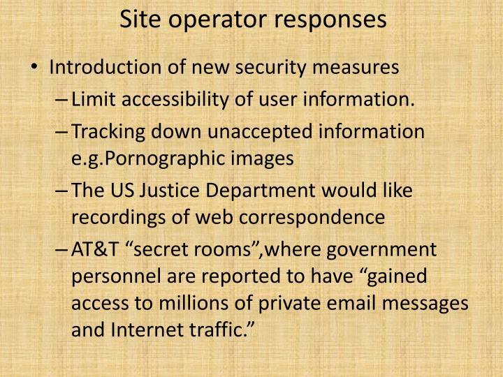 Site operator responses