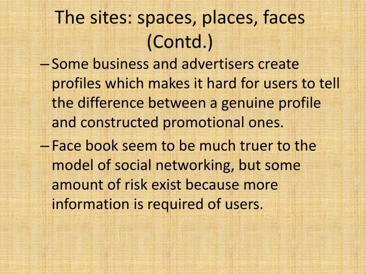 The sites: spaces, places, faces