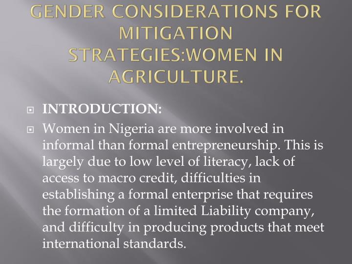 Gender considerations for mitigation strategies women in agriculture