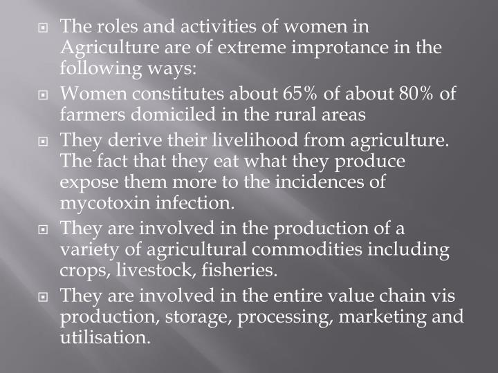 The roles and activities of women in Agriculture are of extreme improtance in the following ways: