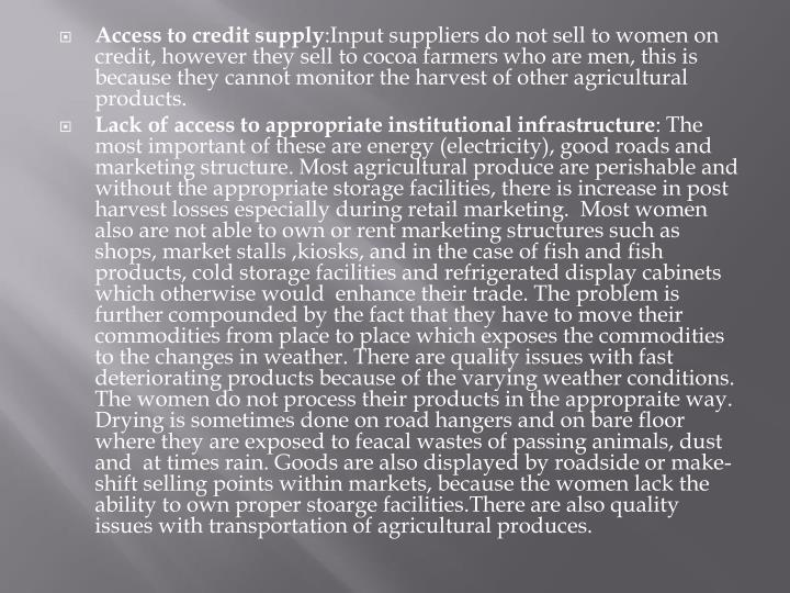 Access to credit supply