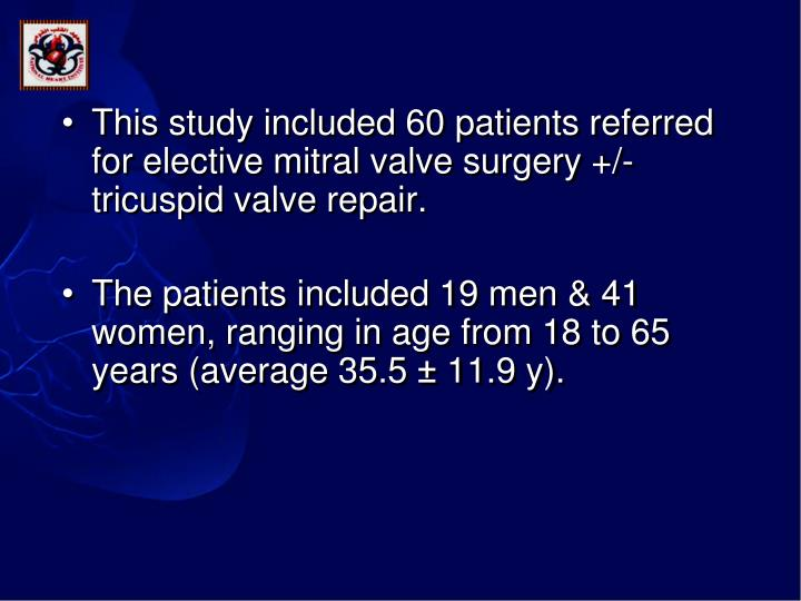 This study included 60 patients referred for elective mitral valve surgery +/- tricuspid valve repair.