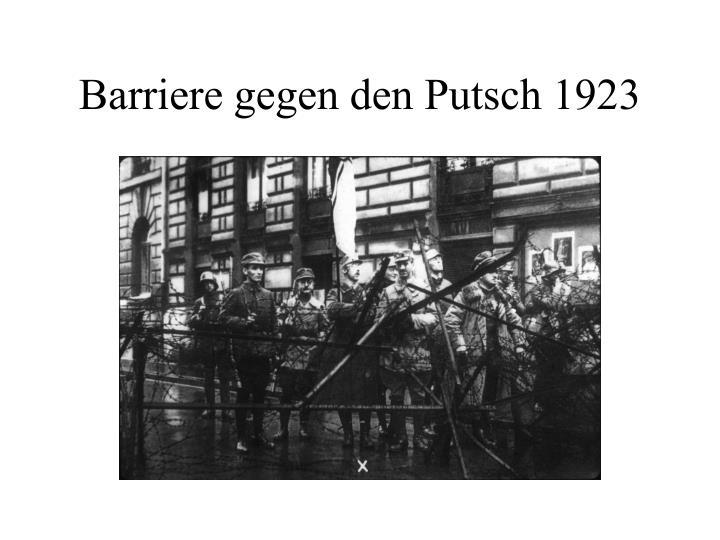 Barriere gegen den Putsch 1923