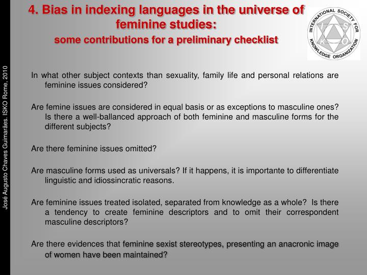 4. Bias in indexing languages in the universe of   feminine studies:
