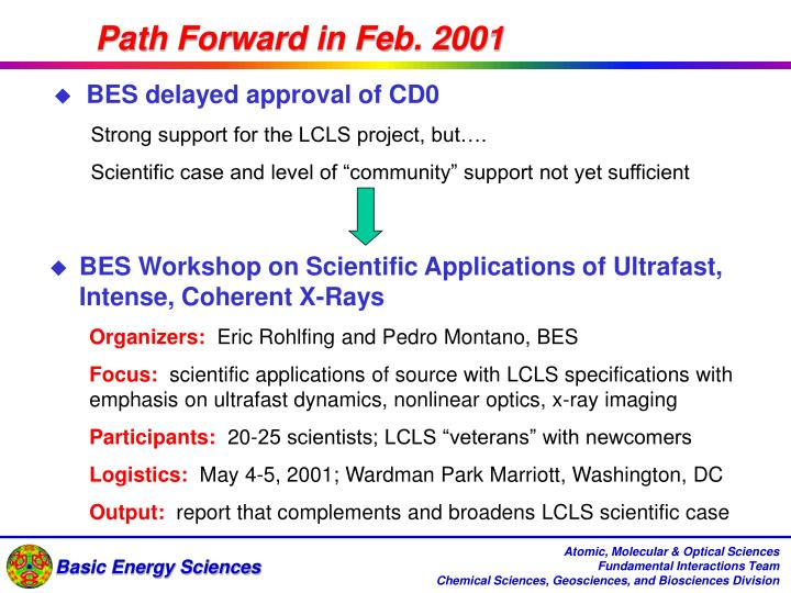 Path Forward in Feb. 2001