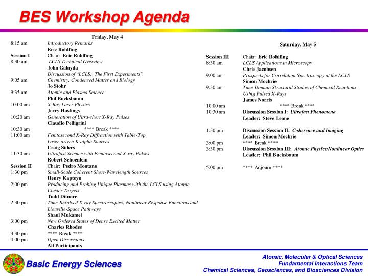 BES Workshop Agenda