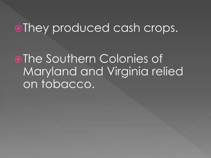 They produced cash crops.