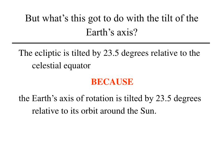 But what's this got to do with the tilt of the Earth's axis?