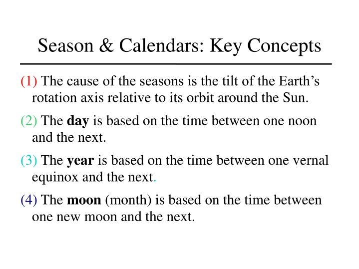 Season & Calendars: Key Concepts
