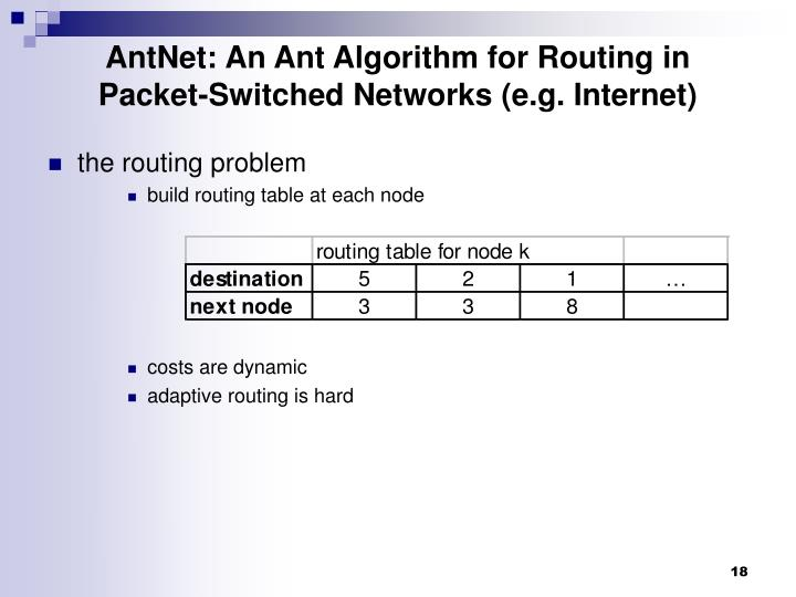 AntNet: An Ant Algorithm for Routing in Packet-Switched Networks (e.g. Internet)