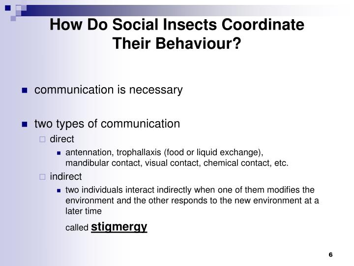 How Do Social Insects Coordinate        Their Behaviour?