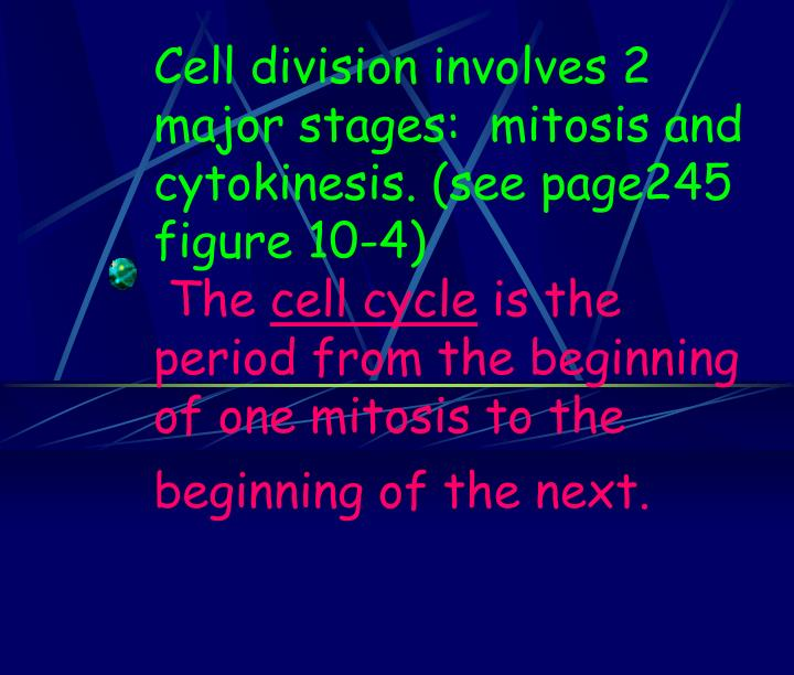 Cell division involves 2 major stages:  mitosis and cytokinesis. (see page245 figure 10-4)