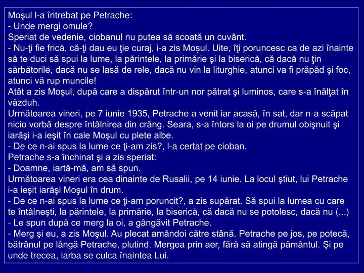 Moul l-a ntrebat pe Petrache: