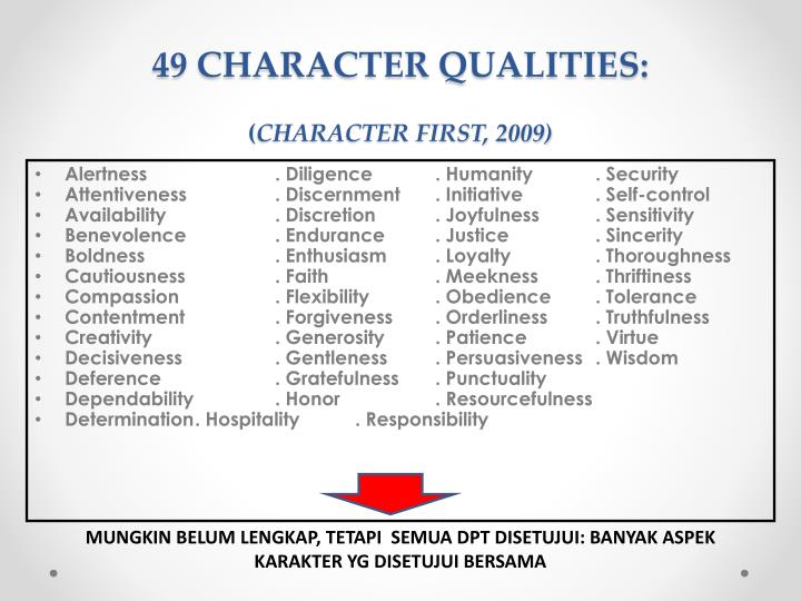 49 CHARACTER QUALITIES: