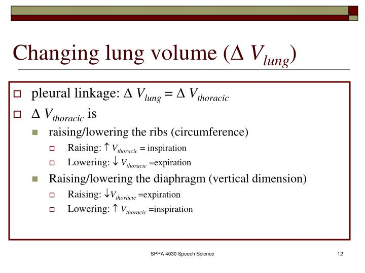 Changing lung volume (