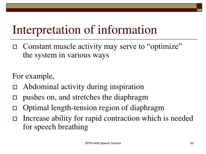 Interpretation of information