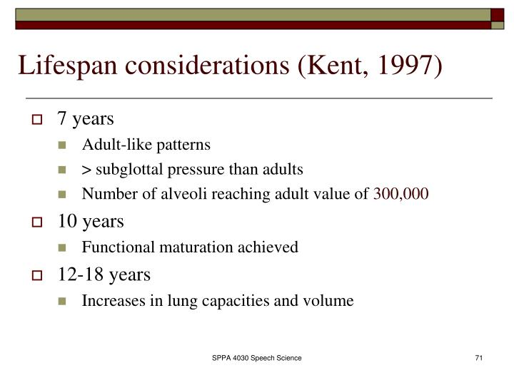 Lifespan considerations (Kent, 1997)
