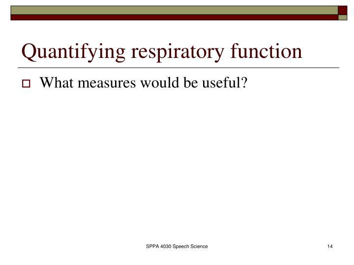 Quantifying respiratory function
