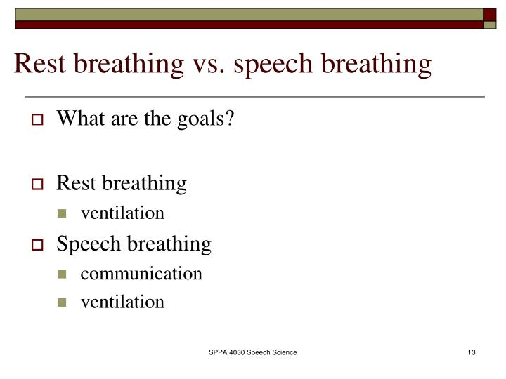 Rest breathing vs. speech breathing