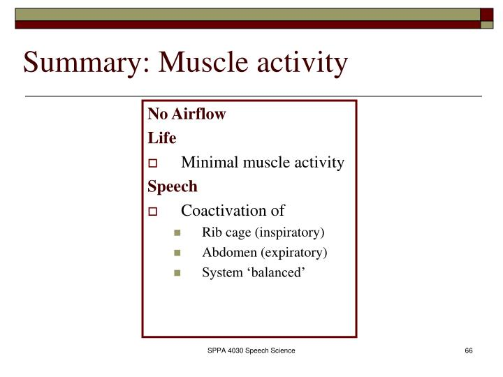 Summary: Muscle activity