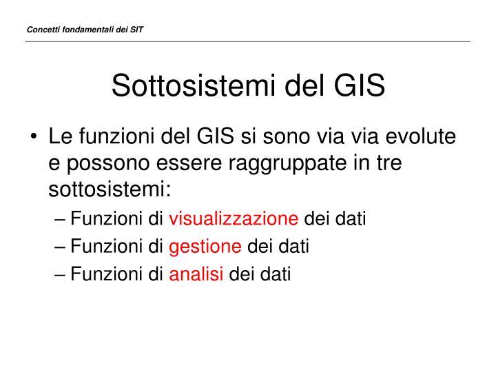 Sottosistemi del GIS