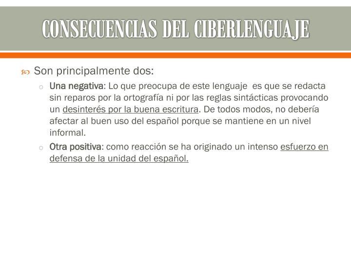 CONSECUENCIAS DEL CIBERLENGUAJE