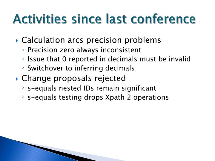 Activities since last conference