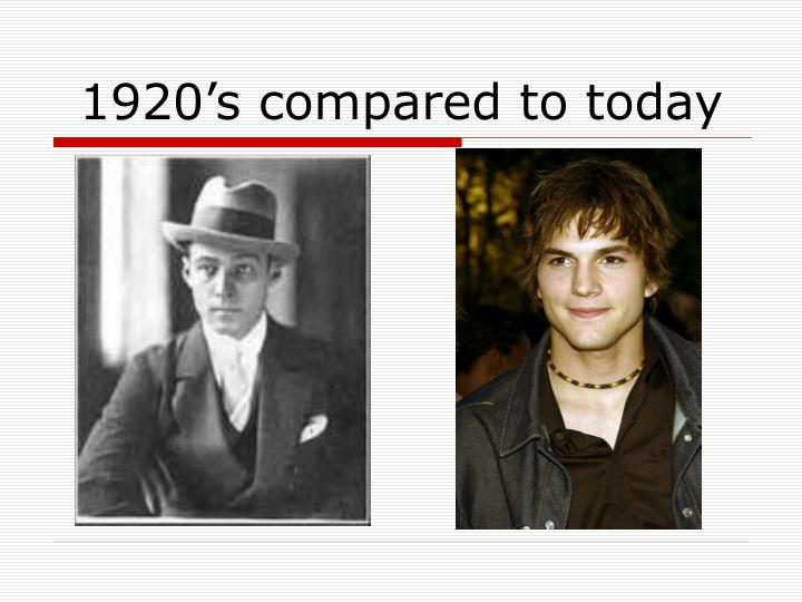 comparison of the 1920s to today The question has already been answered on quora : what is the value of 1000 dollars in 1920, in today's money so 10$ in 1920 are worth 115,97$ in 2011.