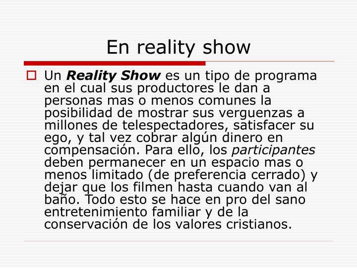 En reality show